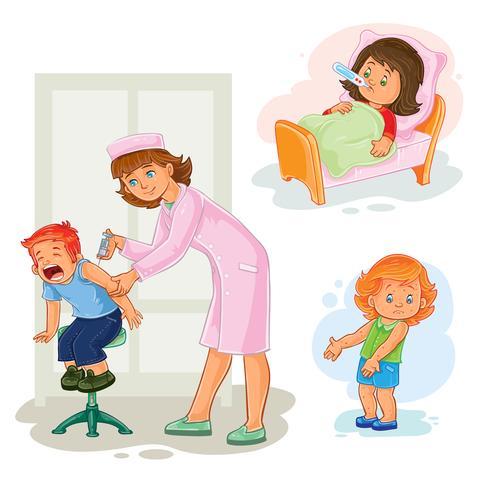 Set illustrations of little children vaccinations