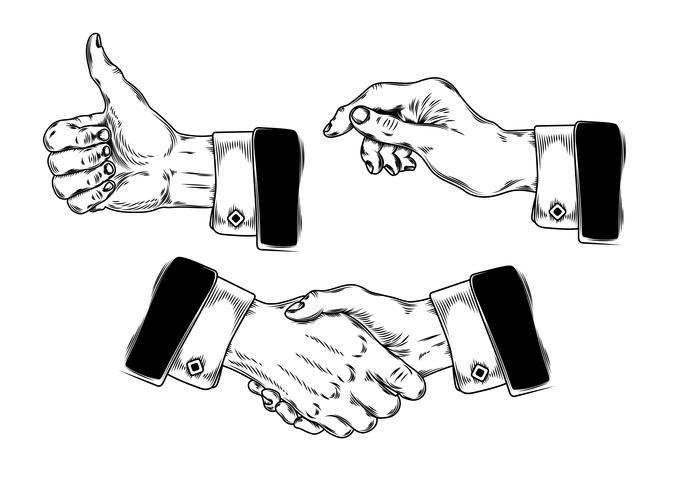 Set van pictogrammen heren handen maken van verschillende gebaren