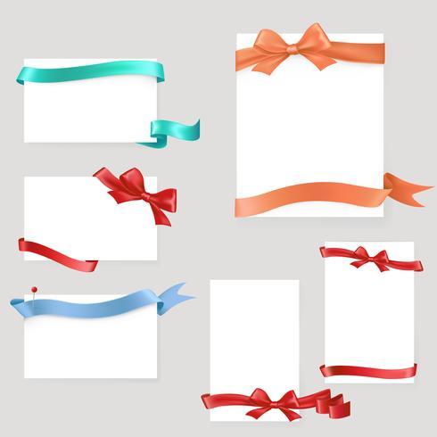 Set van papieren formulier met satijnen linten en strikken