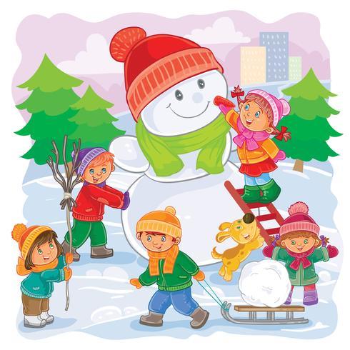 Vectorillustratie van kleine kinderen buiten spelen in de winter