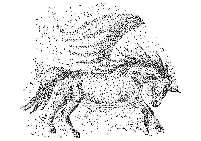 Illustrazione vettoriale di particelle di unicorno