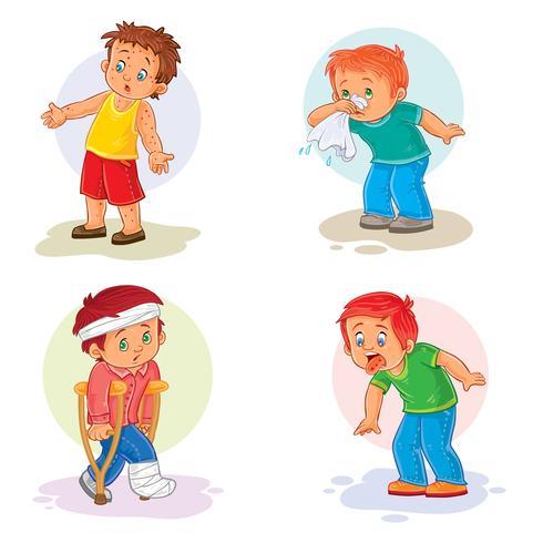 Pictogrammen instellen kleine jongen ziek