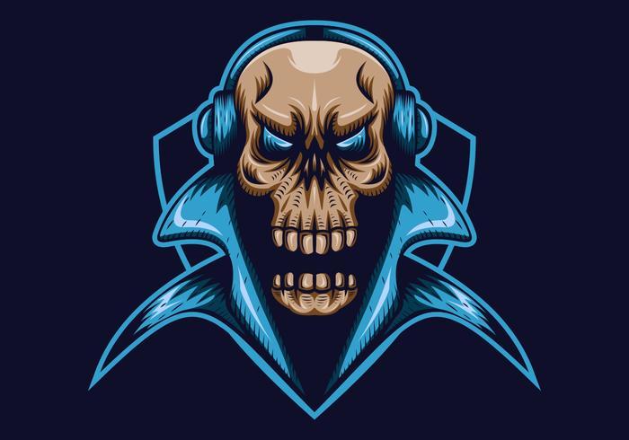cráneo juegos escudo mascota e deporte vector ilustración