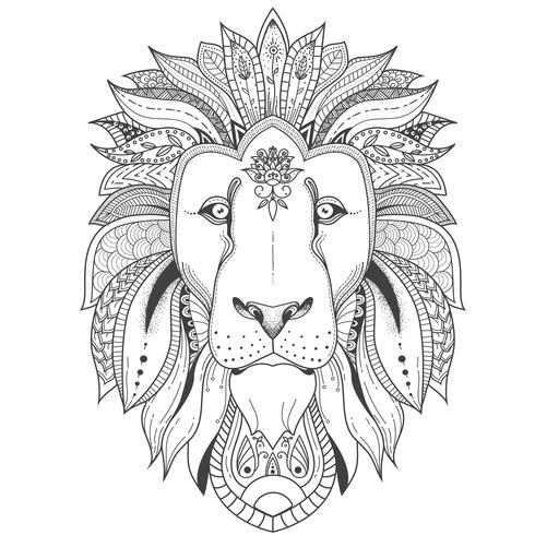 Poster met leeuw met patroon