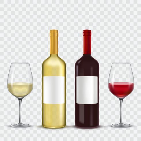 Duas garrafas e copos de vinho - vermelho branco
