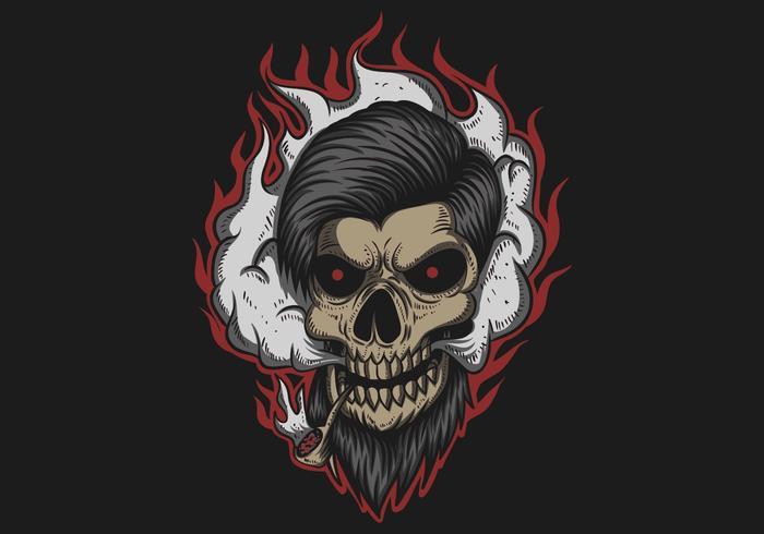 Ilustração em vetor de fumaça de homem de crânio