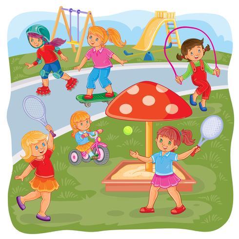 Meisjes spelen op de speelplaats