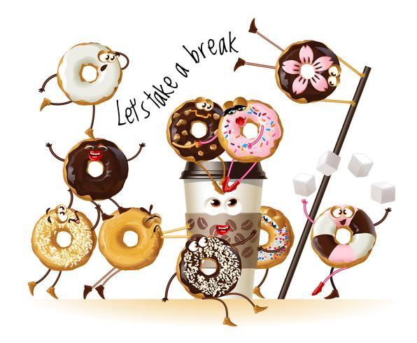 Ontwerp een poster met donuts van stripfiguren