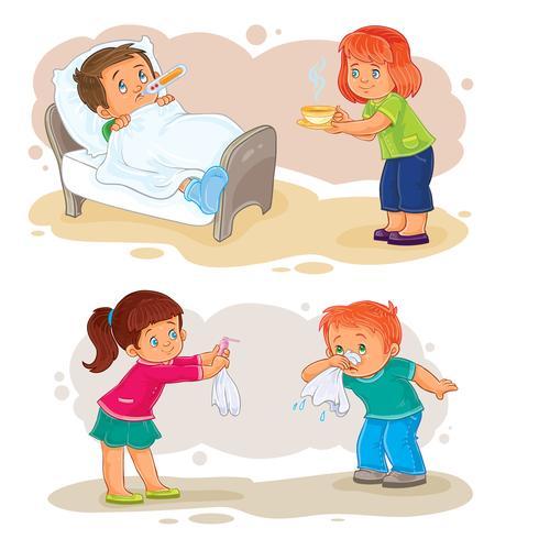 Pictogrammen instellen kleine jongen ziek en medelevend meisje