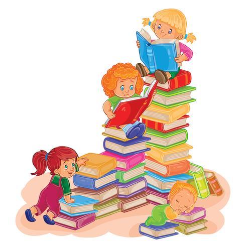 Små barn som läser en bok