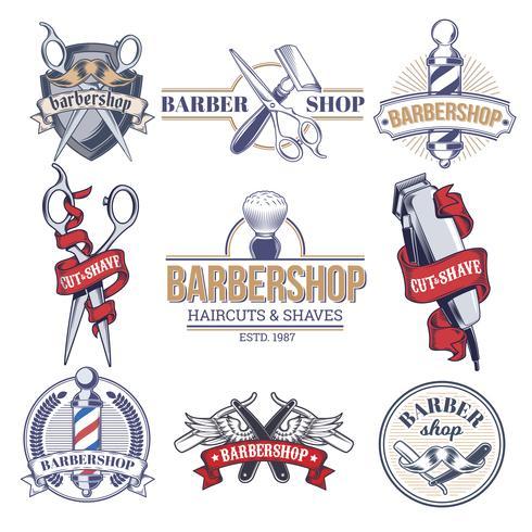 Emblemas de coleção, logotipos com ferramentas de barbearia.