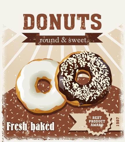 Poster met donuts geschilderd in vintage stijl