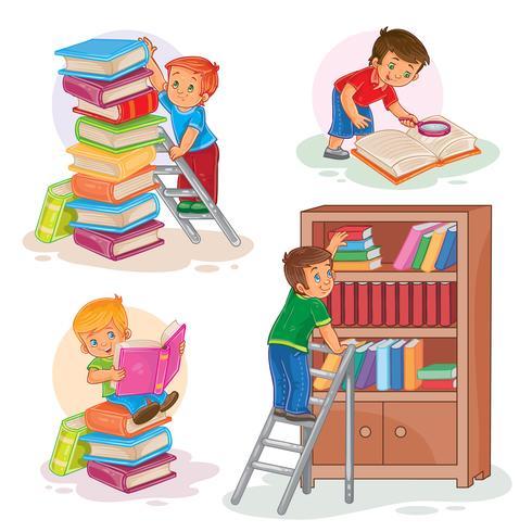 Ställ in ikoner för små barn som läser en bok