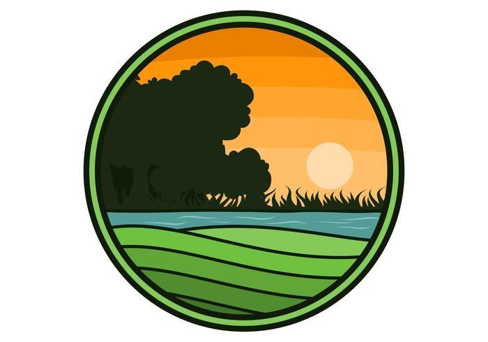 Ilustración de vector de logotipo de círculo de granja