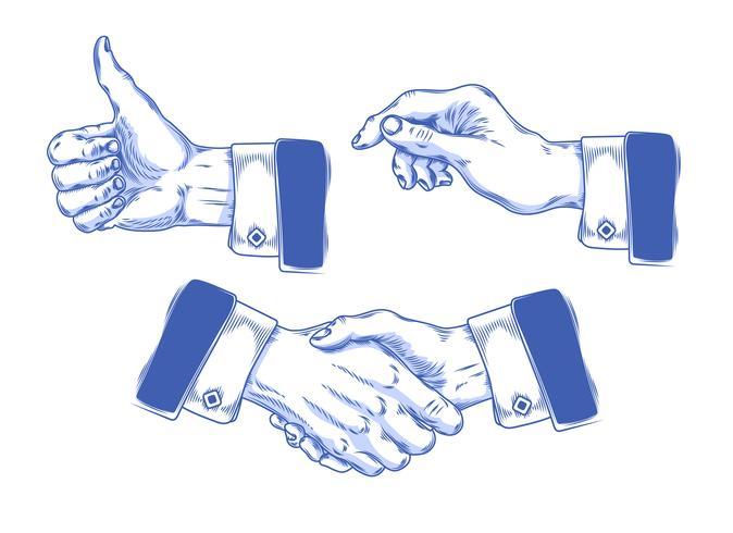 Ensemble d'icônes mains hommes faisant divers gestes