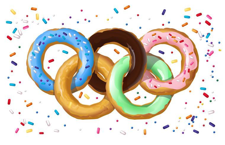 Kleurrijke donuts in de vorm van het Olympische symbool