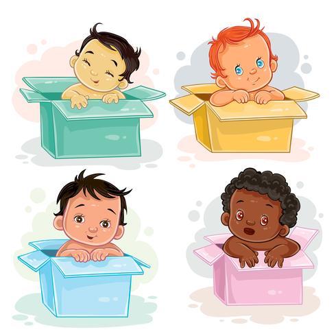 Establecer ilustraciones de diferentes razas de bebés sentados en cajas.