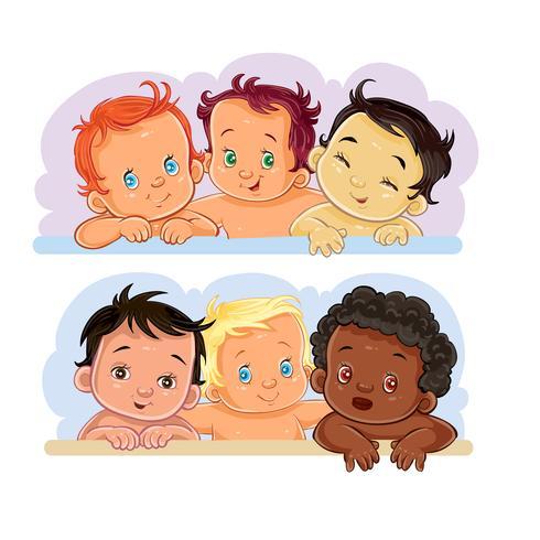 Ilustrações crianças pequenas de diferentes nacionalidades