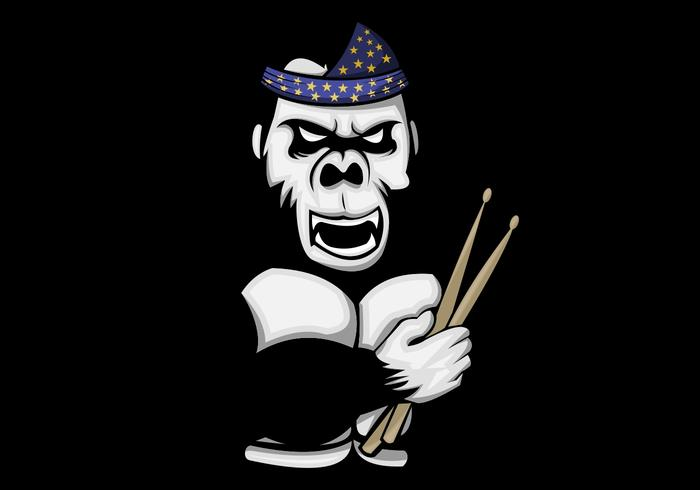 Gorilla-Schlagzeuger-Vektor-Illustration
