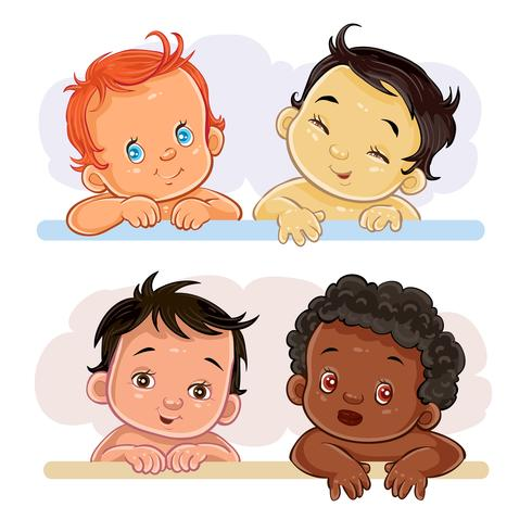 Illustrations little children of different nationalities