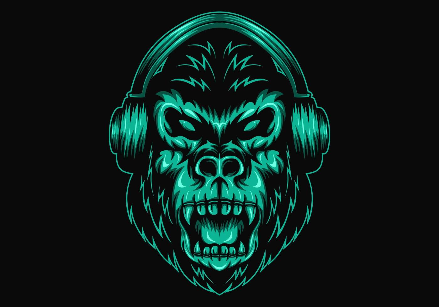 3 Monos Sabios Tatuajes auriculares gorila - descargar vectores gratis, illustrator