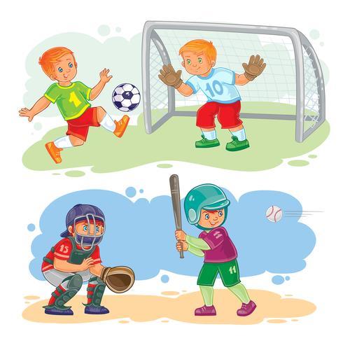 Metta le icone dei ragazzi che giocano a calcio e baseball