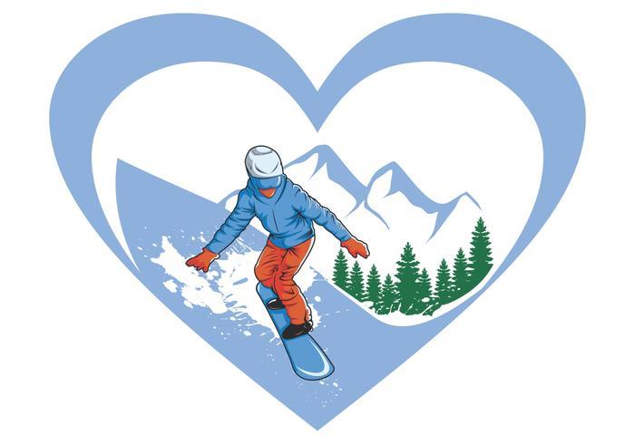 me encanta esquiar en snowboard vector