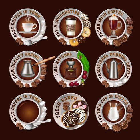 Definir belos emblemas realistas de café