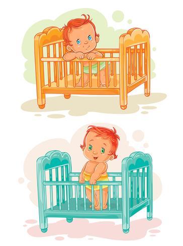 Uppsättning av bebisar i deras sängar