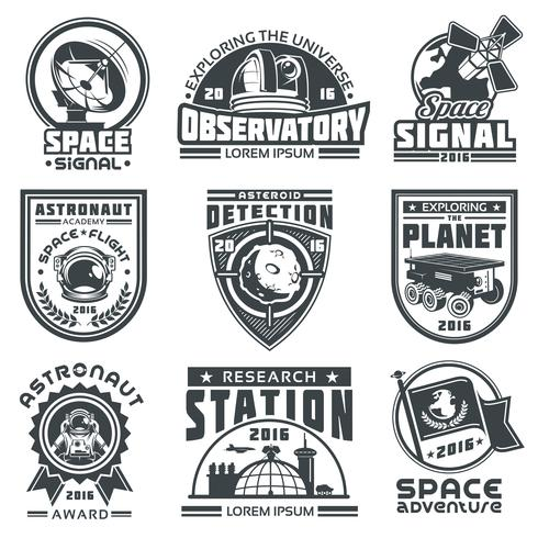 Set of vector badges space.