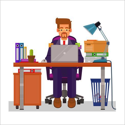 Vector flache Illustration eines Mannes, der an dem Computer arbeitet