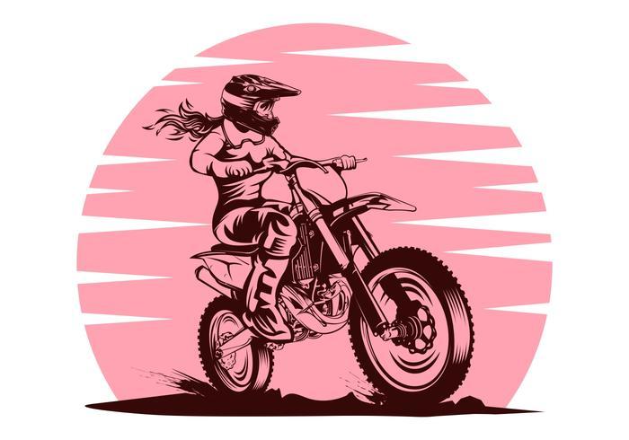 Kvinnlig Motocrossvektorillustration