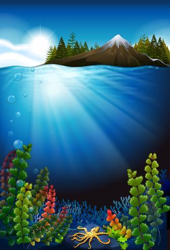 Cena com o oceano e o subaquático