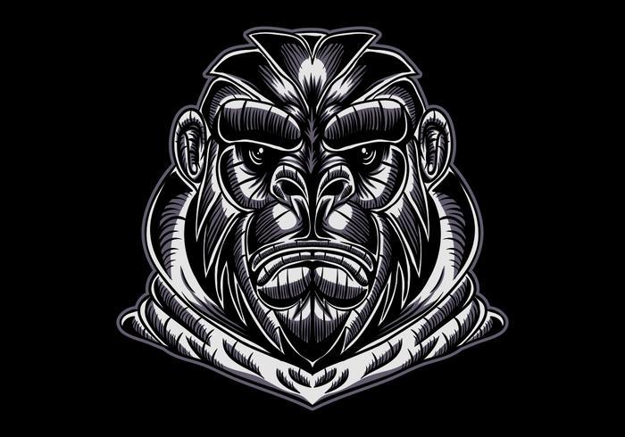 Gorilla Gesicht Vektor-Illustration