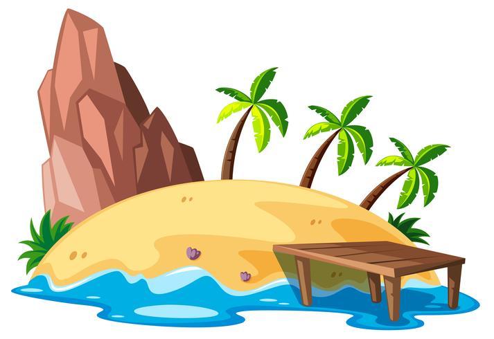 Cena da natureza com ilha e oceano