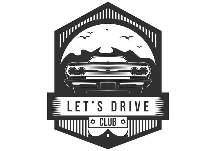 vamos a conducir club insignia ilustración vectorial