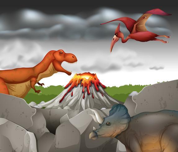 Auf dem Berg lebende Dinosaurier vektor
