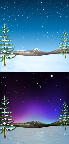 Nature scene with snow falling