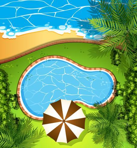 Cena do oceano e piscina
