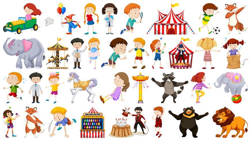 Conjunto de niños y parque de atracciones.