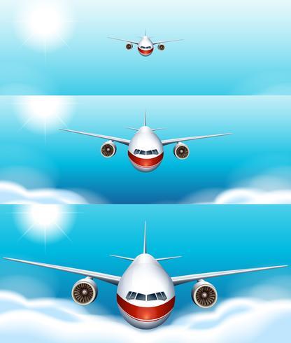 Tre scener av flygplan som flyger i himlen