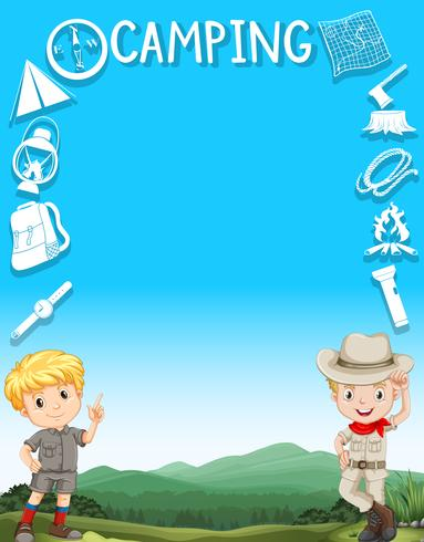 Border design with boys in camping outfit