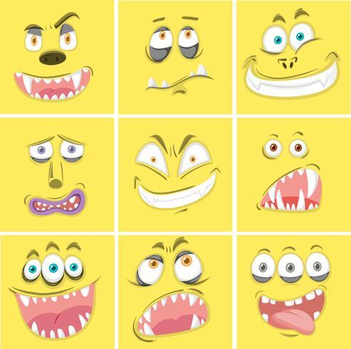 Conjunto de expresiones de monstruo amarillo