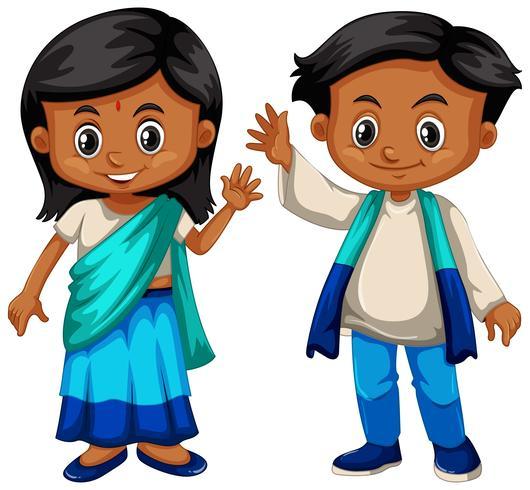 Sri Lanka pojke och flicka i traditionell dräkt