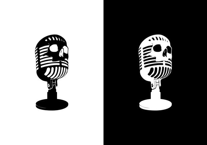 vetor de crânio de microfone