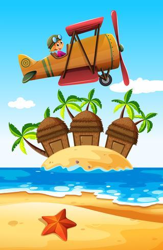 Menina voando de avião sobre a ilha