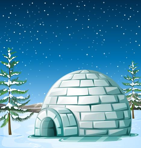 Scene with igloo on snowing day vector