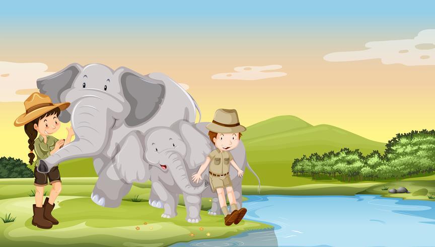 Enfants et éléphants au bord de la rivière