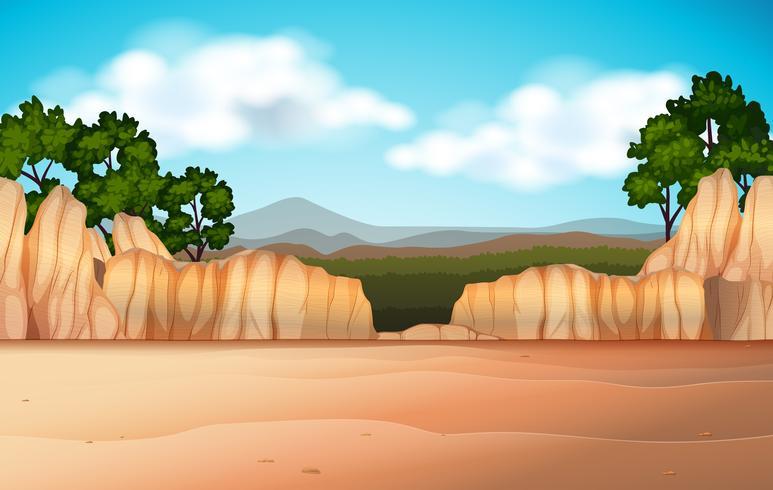Escena de la naturaleza con campo desértico y cañones.