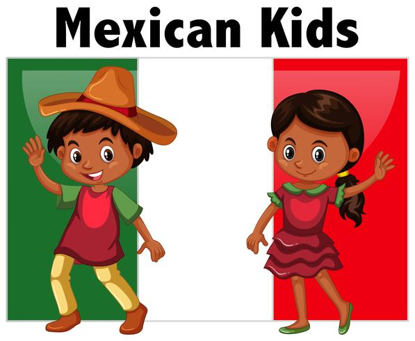 Mexican kids with flag background